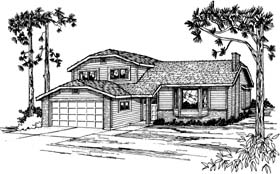 Contemporary House Plan 90958 with 4 Beds, 3 Baths, 2 Car Garage Elevation