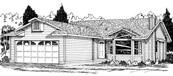 Ranch House Plan 90959 with 3 Beds, 2 Baths, 2 Car Garage Elevation