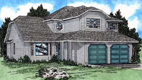House Plan 90961 | Contemporary Style Plan with 1793 Sq Ft, 4 Bedrooms, 3 Bathrooms, 2 Car Garage Elevation