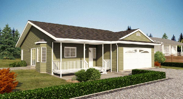 One-Story, Ranch House Plan 90963 with 2 Beds, 2 Baths, 2 Car Garage Elevation