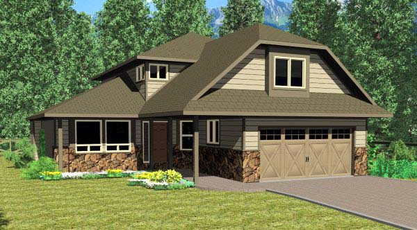 Southwest, Traditional House Plan 90968 with 3 Beds, 3 Baths, 2 Car Garage Elevation