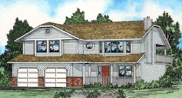 Country , Contemporary House Plan 90971 with 3 Beds, 2 Baths, 2 Car Garage Elevation