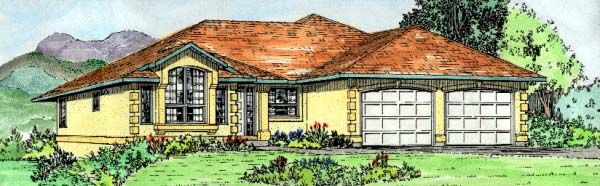 Southwest House Plan 90979 with 3 Beds, 2 Baths, 2 Car Garage Elevation
