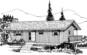 Cabin , Ranch House Plan 90980 with 4 Beds, 2 Baths Elevation