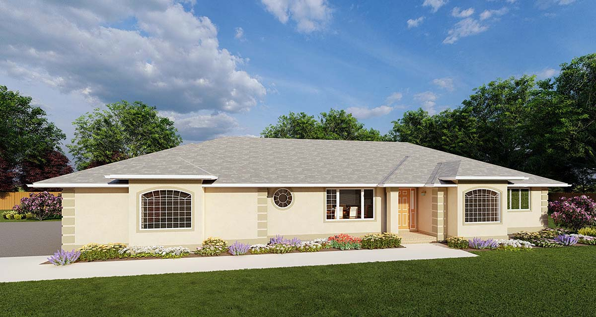 Ranch House Plan 90986 with 3 Beds, 3 Baths, 3 Car Garage Front Elevation