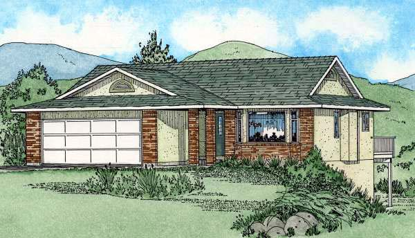 Ranch , Southwest , Elevation of Plan 90987