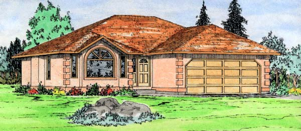 Traditional House Plan 90988 with 2 Beds, 2 Baths, 2 Car Garage Elevation