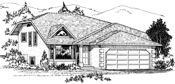 Contemporary House Plan 90989 with 2 Beds, 2 Baths, 2 Car Garage Elevation