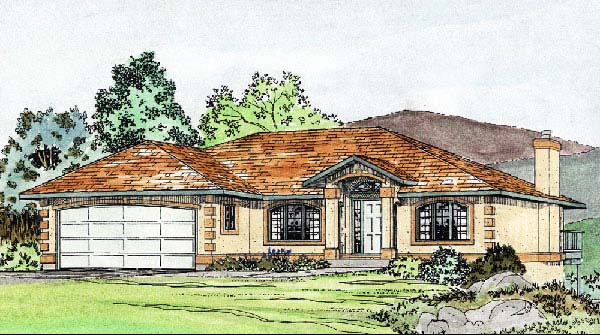 Southwest House Plan 90990 with 3 Beds, 2 Baths, 2 Car Garage Elevation