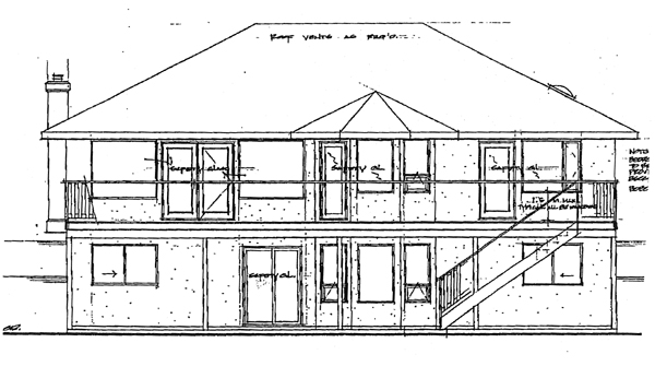 Southwest , Rear Elevation of Plan 90990