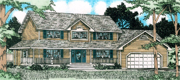 Country, Farmhouse House Plan 90991 with 3 Beds, 3 Baths, 2 Car Garage Elevation