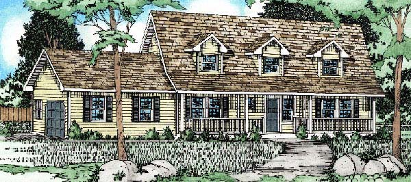 Cape Cod Country House Plan 90992 Elevation