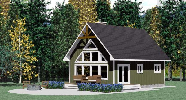 Cabin Contemporary House Plan 90995 Elevation