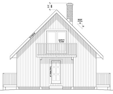 Cabin Contemporary Cottage House Plan 90995 Rear Elevation