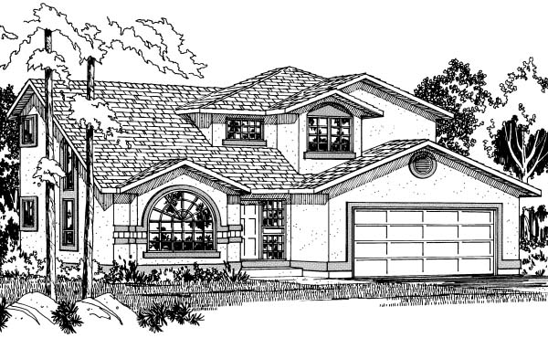 Florida House Plan 90996 with 4 Beds, 3 Baths, 2 Car Garage Elevation