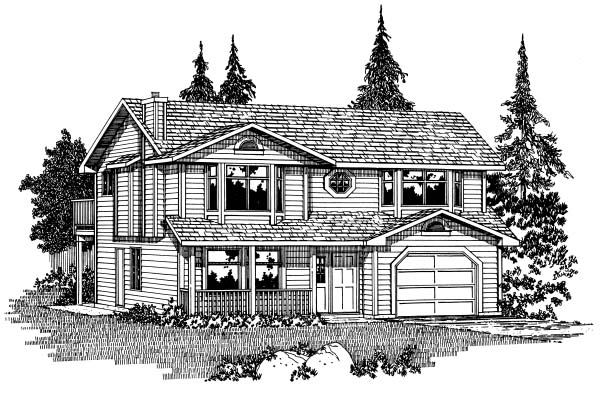 Contemporary House Plan 90999 with 5 Beds, 3 Baths, 1 Car Garage Elevation