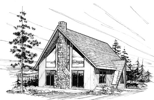 A-Frame Contemporary House Plan 91033 Elevation