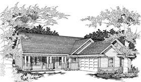 Ranch House Plan 91156 with 3 Beds, 2 Baths, 2 Car Garage Elevation