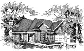 European House Plan 91158 with 3 Beds, 2 Baths, 2 Car Garage Elevation