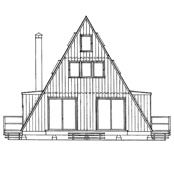 A-Frame Contemporary House Plan 91209 Rear Elevation