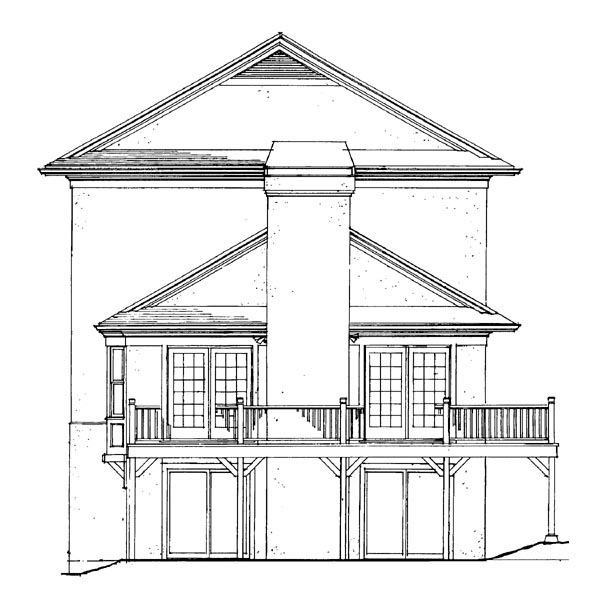 Traditional House Plan 91243 with 3 Beds, 3 Baths, 2 Car Garage Rear Elevation