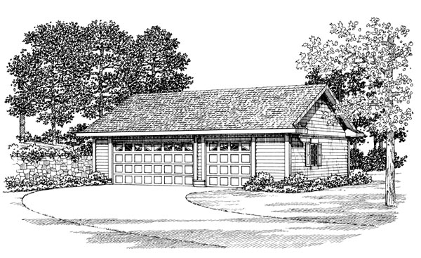 Garage Plan 91262 | Style Plan, 2 Car Garage Elevation