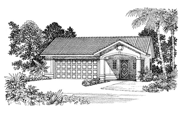 2 Car Garage Apartment Plan 91263 with 1 Beds, 1 Baths Elevation