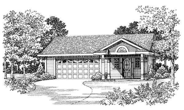 2 Car Garage Apartment Plan 91265 with 1 Beds, 1 Baths Elevation
