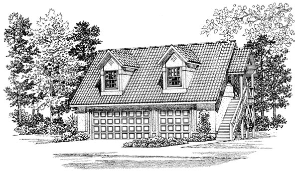 3 Car Garage Apartment Plan 91266 with 1 Beds, 1 Baths Elevation