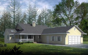 House Plan 91601 | Country Ranch Style Plan with 1782 Sq Ft, 2 Bedrooms, 2 Bathrooms, 2 Car Garage Elevation