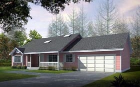 Ranch House Plan 91605 with 2 Beds, 2 Baths, 2 Car Garage Elevation