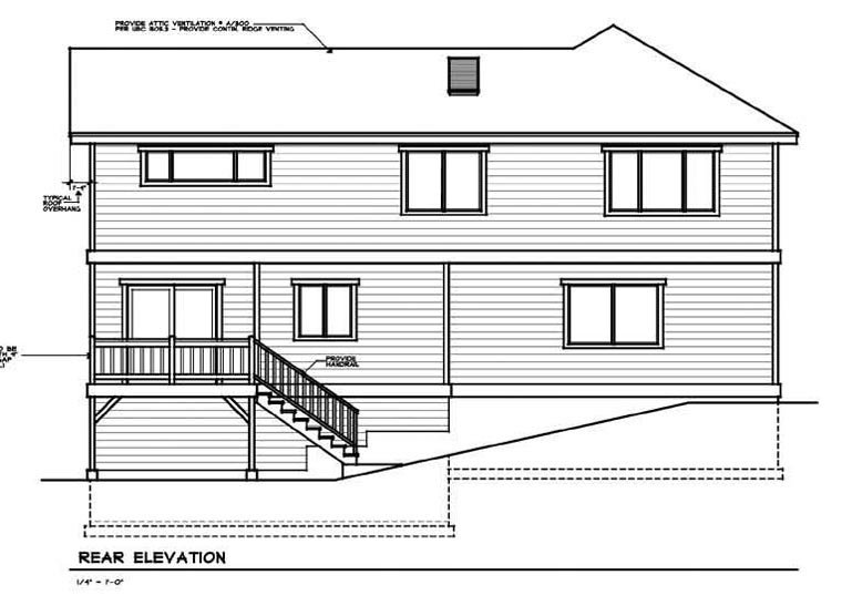 Traditional House Plan 91606 Rear Elevation