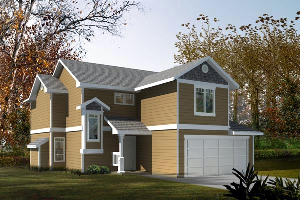 Craftsman, Narrow Lot House Plan 91607 with 3 Beds, 3 Baths, 2 Car Garage Front Elevation
