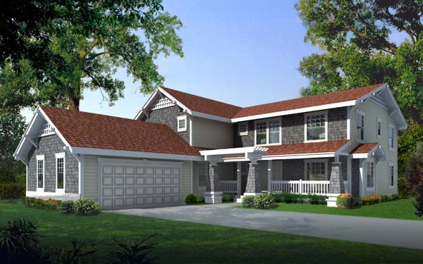 Country Craftsman House Plan 91620 Elevation