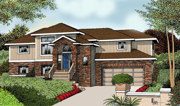 Contemporary One-Story Traditional Elevation of Plan 91624