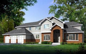House Plan 91627 | Traditional Style House Plan with 3346 Sq Ft, 4 Bed, 3 Bath, 3 Car Garage Elevation