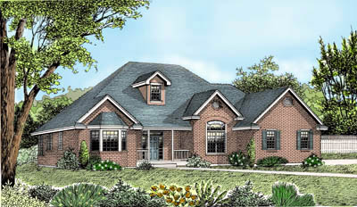 European Ranch Traditional House Plan 91636 Elevation