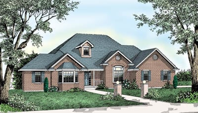 European , Ranch , Southern , Traditional House Plan 91637 with 4 Beds, 2 Baths, 2 Car Garage Elevation