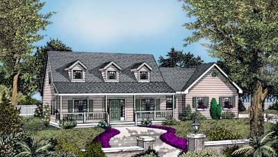 House Plan 91638 | Cape Cod Country Farmhouse Style Plan with 1830 Sq Ft, 3 Bedrooms, 3 Bathrooms, 2 Car Garage Elevation