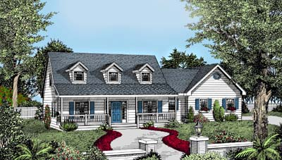 Cape Cod Country Farmhouse House Plan 91639 Elevation