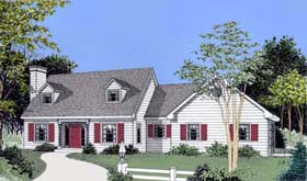 Cape Cod , Colonial House Plan 91640 with 3 Beds, 3 Baths, 2 Car Garage Elevation