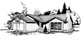 House Plan 91644 | Contemporary Ranch Style Plan with 1657 Sq Ft, 3 Bedrooms, 2 Bathrooms, 2 Car Garage Elevation