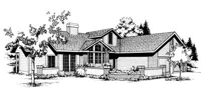 Contemporary, One-Story House Plan 91645 with 3 Beds, 2 Baths Elevation