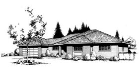 Contemporary Prairie Style Southwest House Plan 91649 Elevation