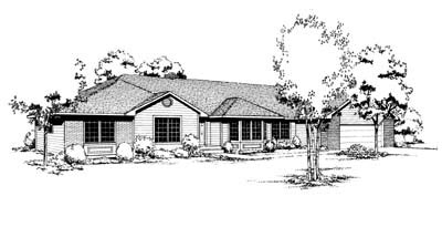 Contemporary Ranch House Plan 91652 Elevation
