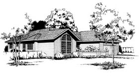 House Plan 91654 | Contemporary Style Plan with 1766 Sq Ft, 3 Bedrooms, 2 Bathrooms, 2 Car Garage Elevation