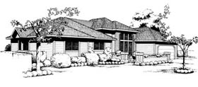 House Plan 91655 | Contemporary Prairie Style Southwest Style Plan with 1936 Sq Ft, 3 Bedrooms, 2 Bathrooms, 2 Car Garage Elevation