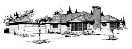 Contemporary Ranch House Plan 91656 Elevation