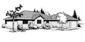 Contemporary Ranch House Plan 91657 Elevation