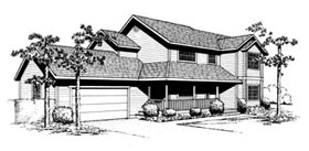 Country , Contemporary House Plan 91662 with 4 Beds, 3 Baths, 2 Car Garage Elevation